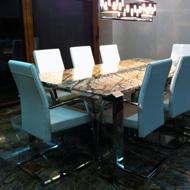 Nerezový stôl, mramorová doska